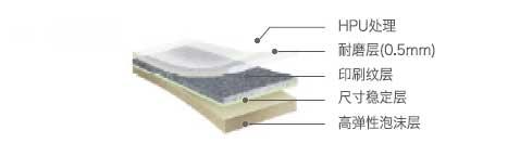 惠宝 - HPU处理, 高强透明层, 印刷层, 尺寸稳定层, 高弹性泡沫层